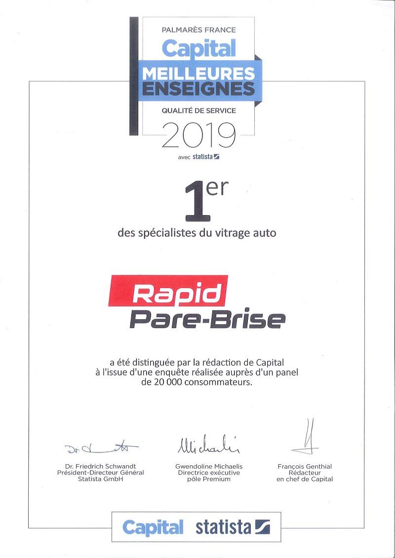 Rapid-Pare-Brise, élue meilleure enseigne 2019
