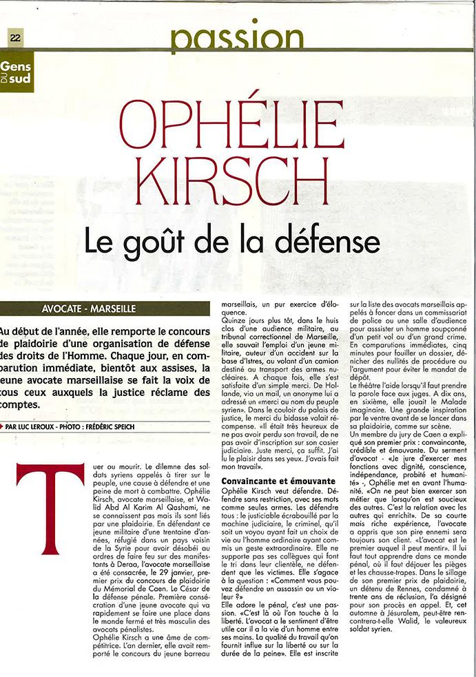 OPHELIE KIRSCH, le goût de la défense