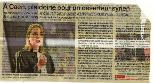 À Caen, plaidoirie pour un déserteur syrien