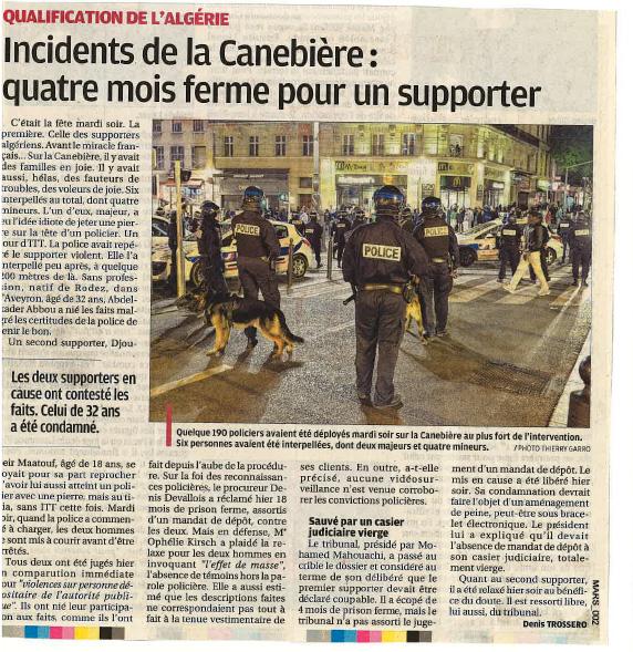 Incidents de la Canebière:quatre mois ferme pour un supporter